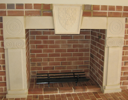 Stone Fireplace with Coat of Arms