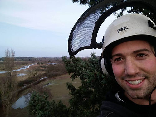 Timberwolf Services worker with protective hat on at the top of a tree overlooking a river