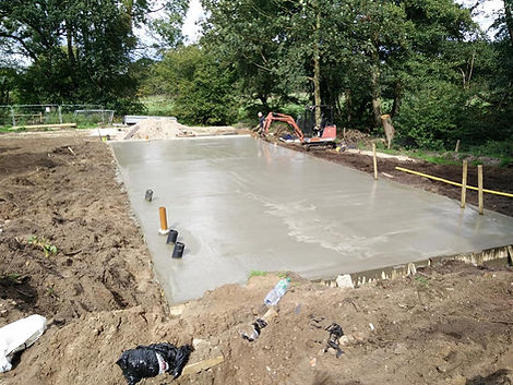 Poured cement foundations for cabin groundworks