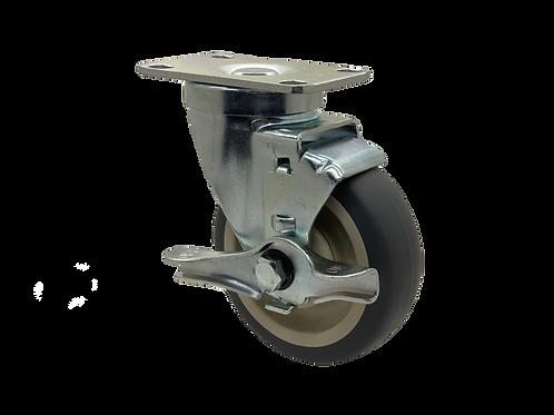 Swivel 4x1-1/4 TPR Wheel Top Lock Brake
