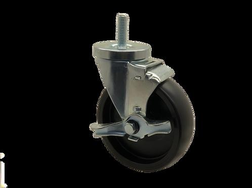Swivel 5x1-1/4 Polyolefin Wheel Top Lock Brake