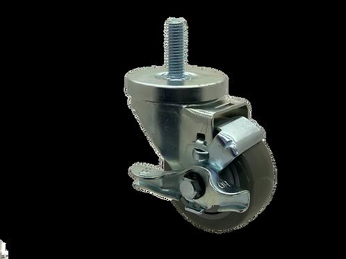 Swivel 3x1-1/4 Poly on Poly Wheel Top Lock Brake