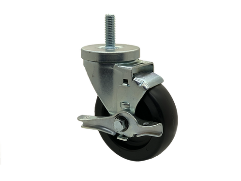 Swivel 4x1-1/4 Polyolefin Wheel Top Lock Brake