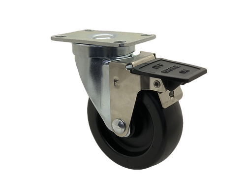 Swivel 4x1-1/4 Polyolefin Wheel Tech Lock Brake