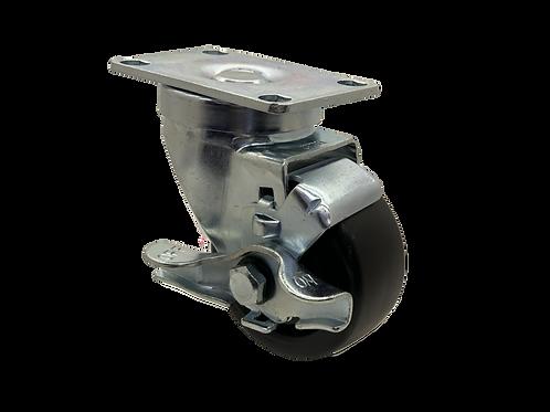 Swivel 3x1-1/4 Polyolefin Wheel Top Lock Brake