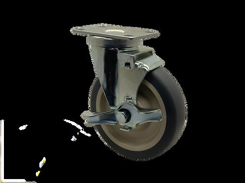 Swivel 5x1-1/4 TPR Wheel Top Lock Brake