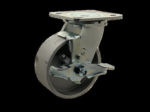 Swivel 5x2 Steel Wheel Top Lock Brake