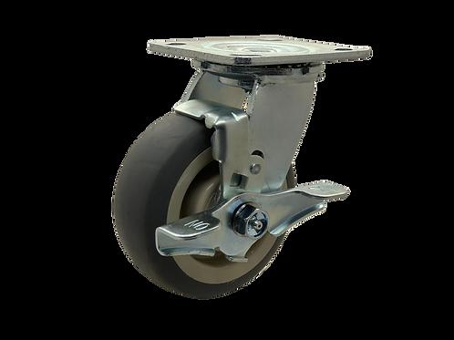 Swivel 5x2 TPR Wheel Top Lock Brake