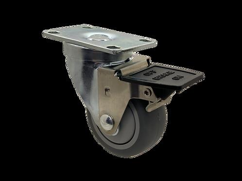 Swivel 3x1-1/4 TPR Wheel Tech Lock Brake