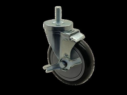Swivel 5x1-1/4 Poly on Poly Wheel  Top Lock Brake