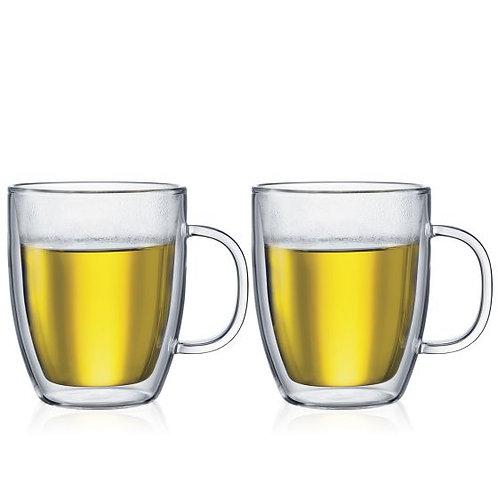 Bodum Bistro 2pc  Double Walled Glass Jumbo Mugs 15oz