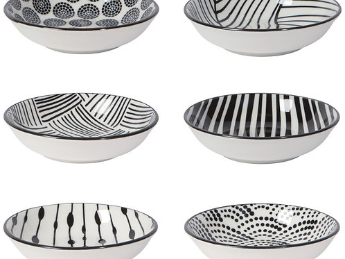 Now Designs Pinch Bowl Set of 6 in BLACK DOTS