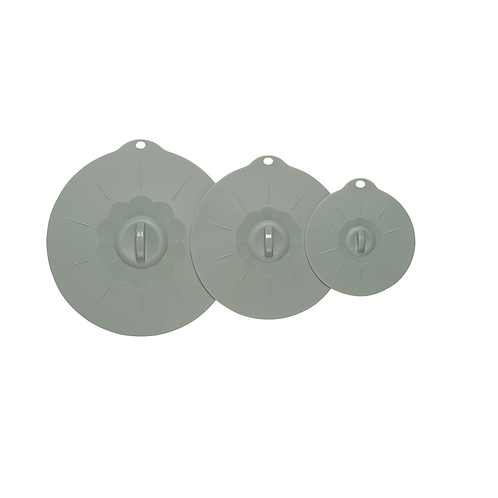 Now Designs Grey Silicone Suction Lid Set of 3