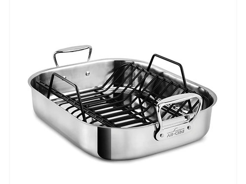 All Clad Stainless Large Roasting Pan with Non-Stick Rack