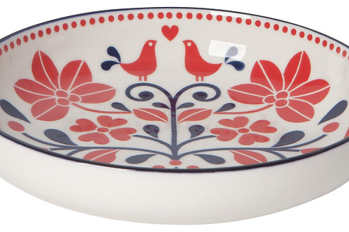 Now Designs 8' Shallow Red & Navy Birds Stamped Bowl