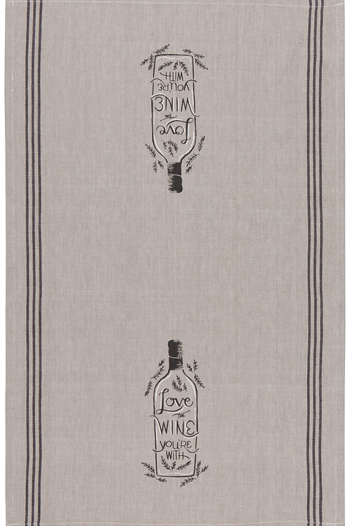 Now Designs Chambray Love The Wine You're With Tea Towel