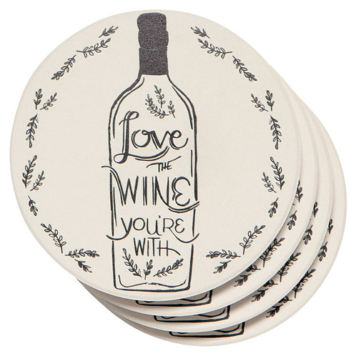 Now Designs The Wine You're With Soak Up Coaster Set of 4