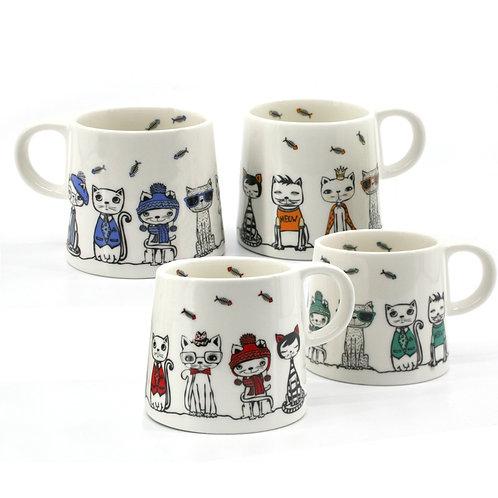 Danes Paw Cafe Cat Mugs 4pc
