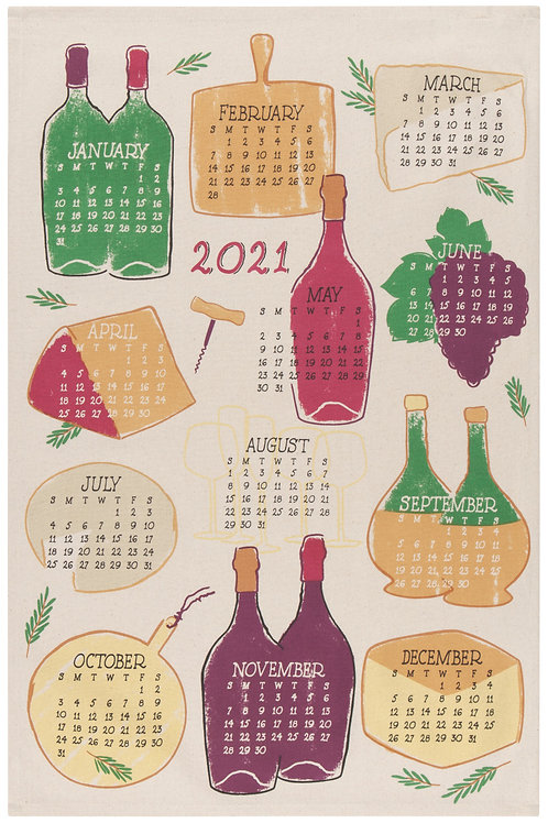 Now Designs A Wine Year 2021  Calendar Tea Towel