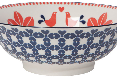 "Now Designs 8"" Red &Navy Birds Stamped Bowl"