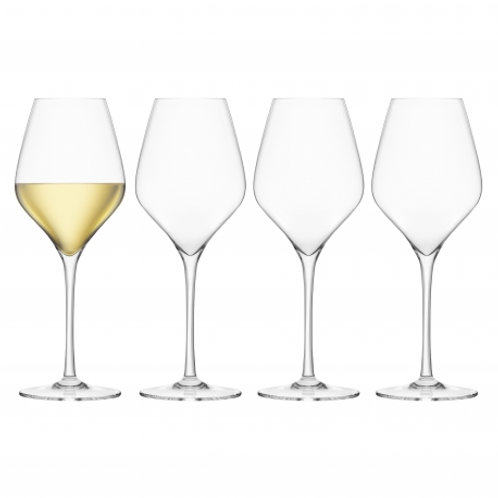 Final Touch Set of 4 Crystal White Wine Glasses