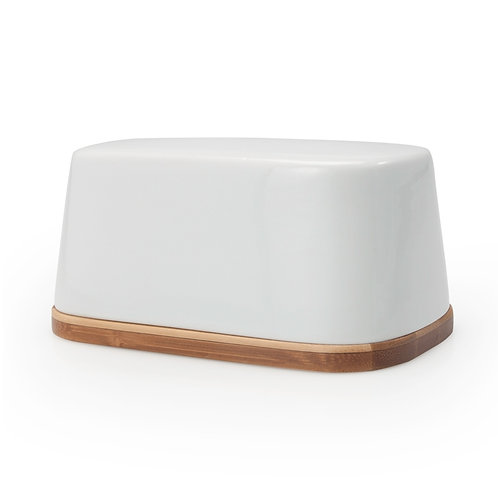 BIA Bamboo Butter Dish With Porcelain Cover