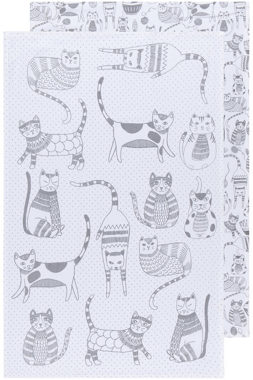 Now Designs Set of 2 Flour Sack Color Center London Grey Tea Towels