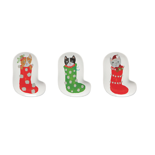Now Designs Meowy Christmas Shaped Dish Set of 3