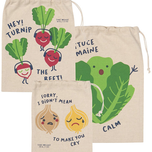 Now Designs Reusable Produce bags Set of 3 in FUNNY FOODS