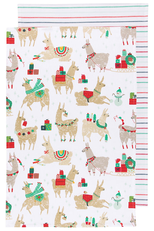 Now Designs Set of 2 Fa La La La Llama Tea Towel