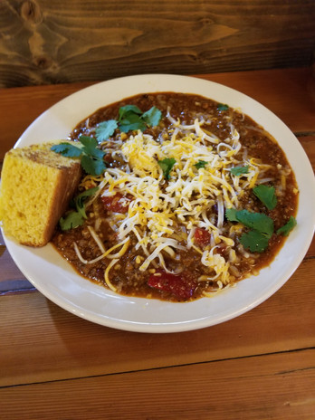 Homemade Beef Chili with homemade cornbread