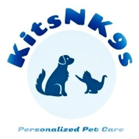 The logo for Kits N K9s is a blue and white color scheme of a dog and kitten across from one another