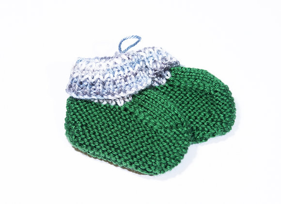 Green and Silver Baby Booties
