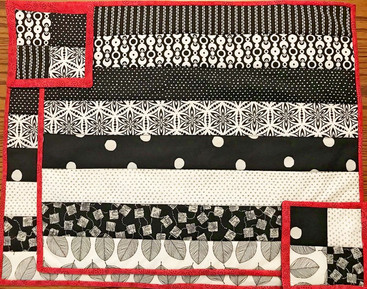 Placemats and coaster for Monochromatic Table Runner