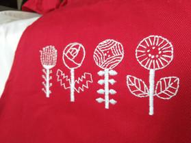 Detail - apron, Scandi Flowers