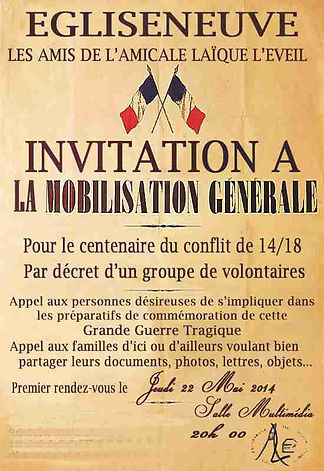 affiche mobilisation egliseneuve centenaire