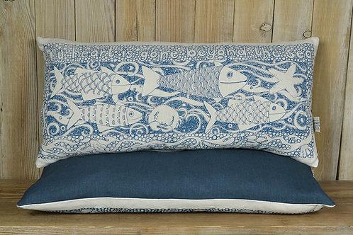 Rectangular Linen Cushion - 'Fishes' / Indigo