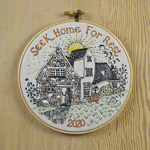 Embroidery Kit - seek home for rest - Jill Pargeter