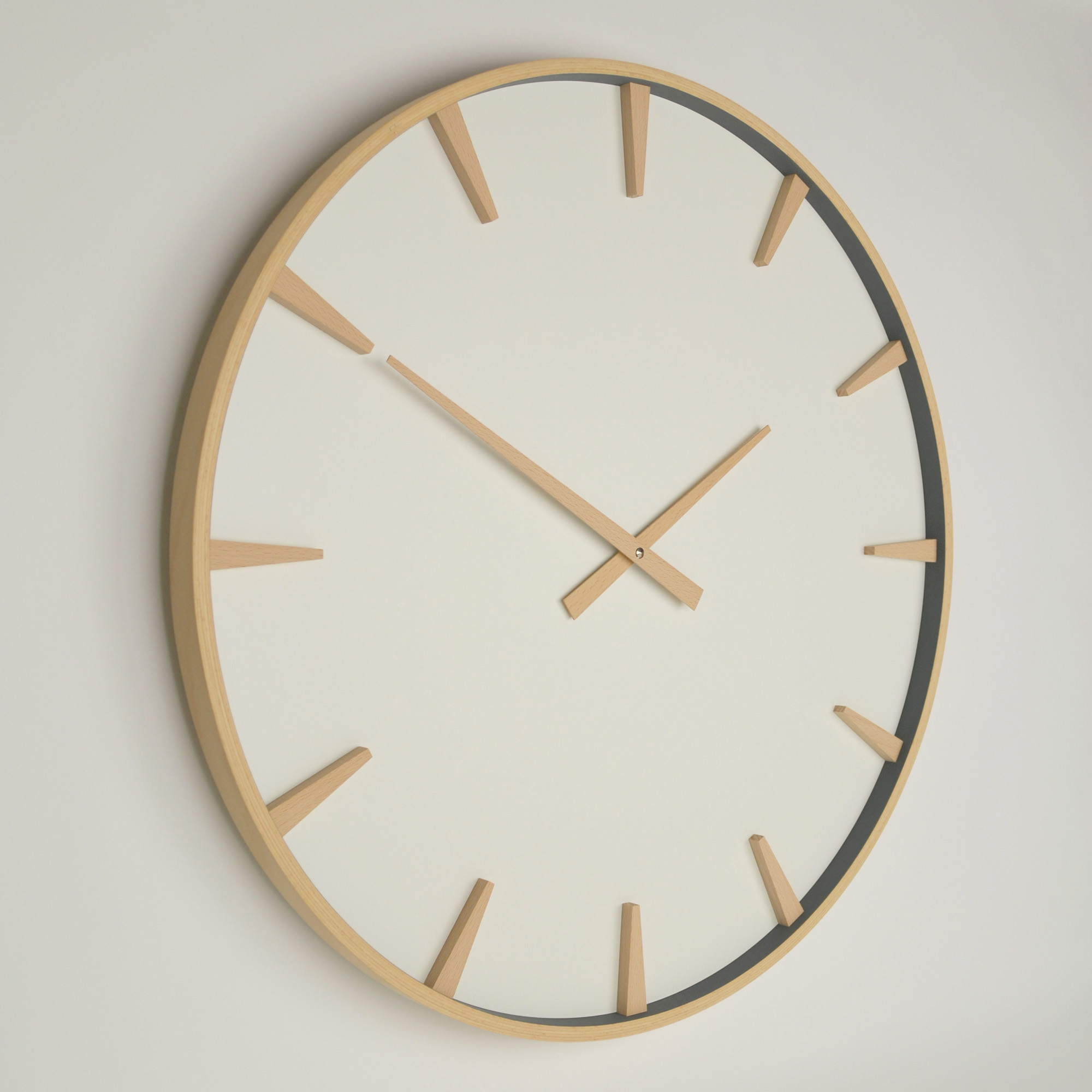large beech wood wall clock