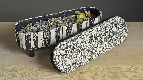Small Linen Box - Orchard / Black