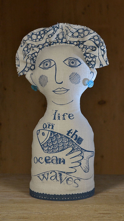 handmade line figure by Jill Pargeter - life on the ocean waves