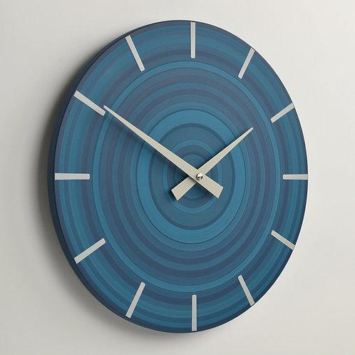 British handmade contemporary wall clock - Blue - 30cm diameter