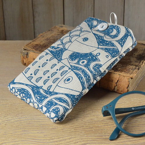 Linen Glasses Case - Fishes