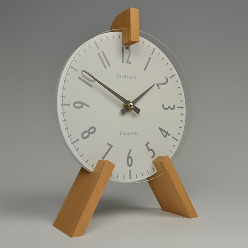 Inhouseclocks - simple modern handmade beech wood mantel clock