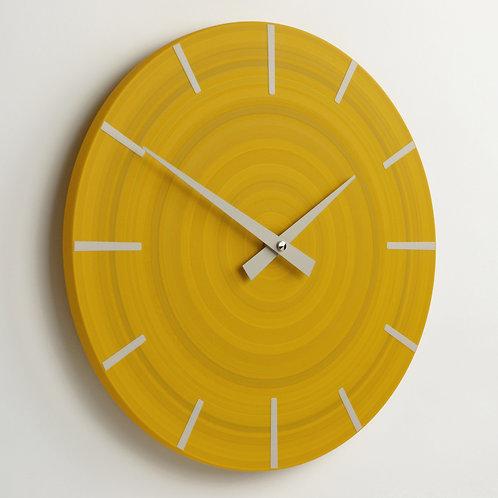 British handmade contemporary wall clock - Yellow - 30cm diameter