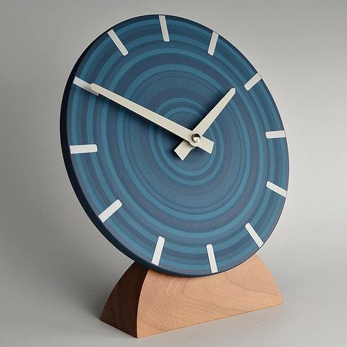 Handmade contemporary mantel clock - abstract blue