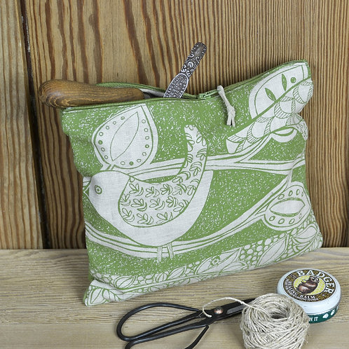 Jill Pargeter - zip bag - green birds