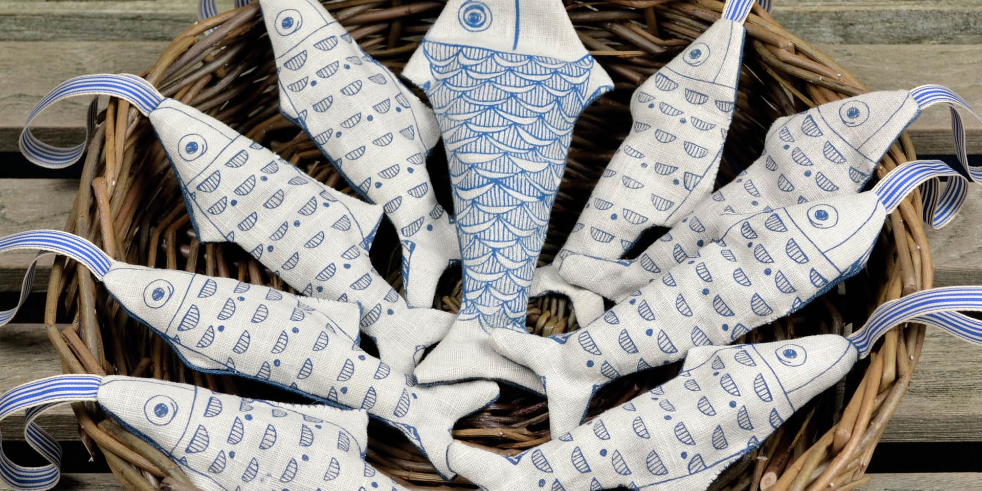 linen fish decorations