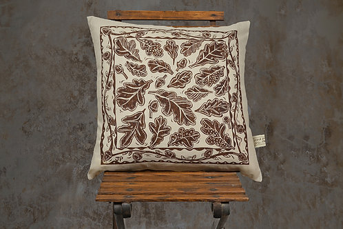Jill Pargeter - oak leaf linen cushion - new 2021