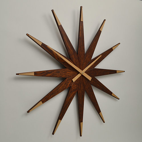 Inhouseclocks -handmade contemporary oak star wall clock
